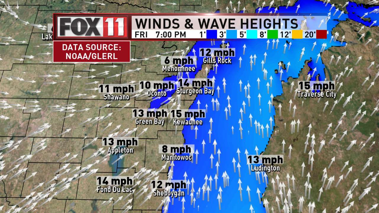 FOX 11 Weather | Northeast Wisconsin PM Winds and Waves